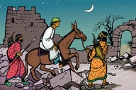 Nɛyimaya lukoba di siti we brok doŋ ɛn tɔnoba (Picture 20. Nehemiah Inspects the Ruined City)