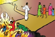 Jisɔs sho di rod way fɔ fɜn layf-sote-go (Picture 24. Jesus Shows the Way to Everlasting Life)