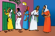 جهز نفسك (Picture 11. Five Women Outside the Door)