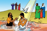 Ng'alek Che Kitaunen ♦ Kibatiseni Jeisu (Introduction to Part 2 ▪ Picture 13. Jesus is Baptized)