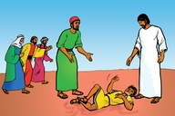 Yesu Adindija Mbwange Mbepo (Picture 24. Jesus Heals a Boy with a Demon)