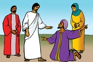 Picture 4: A Ruler Kneels before Jesus; - John 4: 46-54