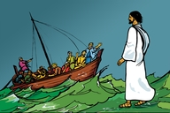 Muvwimbimbi wamuchitanu naivali (7) Yesu mwatambuka helu lya meya (Picture 7. Jesus Walks on the Water)