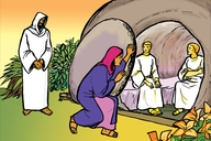 Muvwimbimbi wamulikumi naumwe (11) Maliya na Yesu kuchimbumbe (Picture 11. Mary and Jesus at the Tomb)