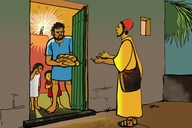 Picture 18: The Friend at the Door; - Luke 11: 5-13