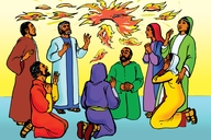 Rùp 2: Yàc Vơngãq Sơđah pơbôh tơviãq yơu apôi (Picture 2. The Holy Spirit Comes with Fire)