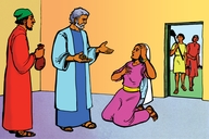 Picture 6: Peter and the Woman who Lied; - Acts 5:1-11