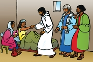 Jesu Aha Hoza mukekaze wa Pitolosi (Picture 25. Jesus Heals Peter's Mother-in-Law)