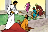 Jesu Aha Oza Omu Lwele Abulo (Picture 30. Jesus Heals the Man at the Pool)
