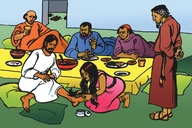 Omukentu Aha Sanza Jesu Kumatende (Picture 41. A Woman Washes Jesus' Feet)