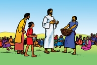 Jesu Aha Wa Abantu Bangi Ezilyo (5000) (Picture 51. Jesus Feeds Five Thousand People)