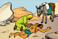 Enguli Yo Musamaliya Omulotu (Picture 67. Parable of the Good Samaritan)