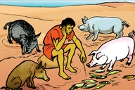 Omwana Ozhu Na Zhoba Mukati Koba Ngili (Picture 76. The Lost Son Among the Pigs)