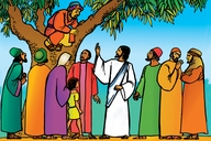 Healing of a Blind Man; song, Do Not Pass Me By; Zacchaeus