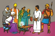 Jesu Habuso Bo Mapulisita (Picture 104. Jesus Tried Before the High Priest)