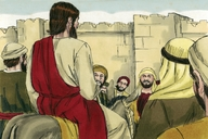 Jesus ry Jerusalem op 'n donkie binne, Markus 11 1-11 (Jesus enters Jerusalem on a donkey, Mark 11:1-11)