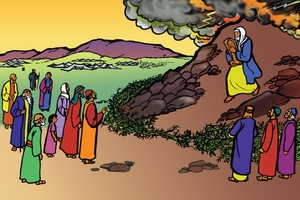 Moses ak Ngotutik ab Kamuktaindet [Picture 9: Moses and the Law of God]