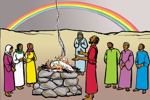 Ikipingafula Nulwitikano Na Kyala (絵 7. The Rainbow and God's Promise)