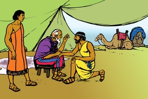 Yosindap Abraham ak Kiboitiondenyin (絵 21. Old Abraham and His Servant)