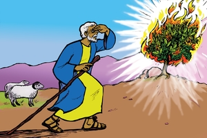 Musa na Lutela Lwaluyaka Mwoto (絵 14. Moses and the Burning Bush)