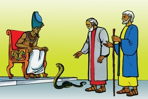 Musa Akelebwike Misri (絵 15. Moses Returns to the King)