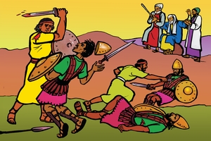 Worana Joshuafi Amalekites Jidu Jiru [絵 1. Joshua Fights The Amalekites]