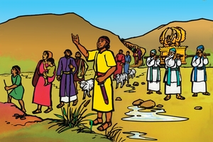 Iana Aisilaeli Aeaputie Umongo Wa Yolodan [絵 3. The People of Israel Cross the River]