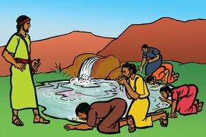 Koyee Bek Asikarik ab Gedion [Picture 15. Gideon's Army Drinks The Water]