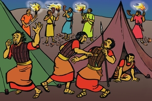 Aka Wari Gidioni Kambi Midianite Marse [絵 16. Gideon's Men Surround The Camp Of Midian]
