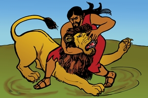 سمسون قتله السد (รูปภาพ 17. Samson Kills A Lion)
