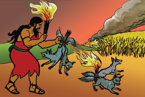 Samson kulu falistinye kanna Tuskano ba kamu [Picture 18. Samson And The Burning Foxes]