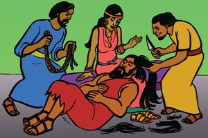 รูปที่ 19 [Larawan 19. The Philistines Cut Samson's Hair]