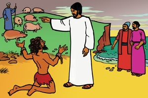 Uyesu Ukuazunsa Iapepo Niabee [絵 21. Jesus Drives Out Evil Spirits]