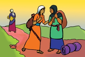 Nahomi Nende Ruth Vakalukha Israeli [絵 2. Naomi and Ruth Return to Israel]