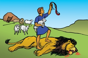 Picture 13. David, The Brave Shepherd ▪ Picture 14. David and the Giant ▪ Picture 15. Saul Tries to Kill David ▪ Picture 16. David Spares Saul's Life ▪ Picture 17. David is Made King ▪ Picture 18. David and Bathsheba