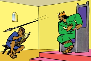 Saulo Atema Okhwira Daudi [Picture 15. Saul Tries to Kill David]