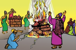 Elijah nende Omuriro kwa Nyasaye [Picture 22. Elijah and the Fire of God]
