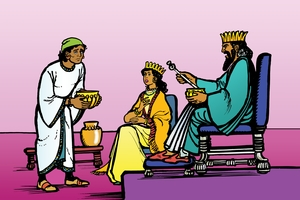 Rùp 19: Ne-he-mi dòq pãq anãq pitao [Picture 19. Nehemiah Before the Great King]