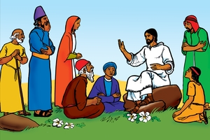 Gena n̄amu ♦ Yaccu Bala Loti ma [Introduction ▪ Picture 1. Jesus Teaches the People]