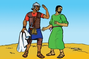 القصاص بالقصاص [Picture 4. A Roman Beats a Jew]