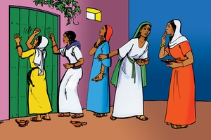 Picture 11: Five Women Outside the Door; and Turn Over Announcement