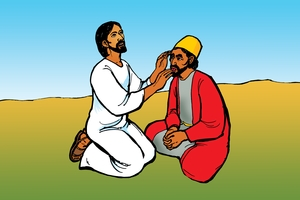 Muntu Mwene Ija Kiziwi Yolusika Notera [Picture 22. Jesus and the Deaf and Dumb Man]