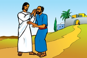 Yesu'o Mpozeze Mashe [Picture 23. Jesus Makes a Blind Man See]