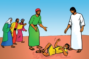 Yesu Wavakhwa Amafura Yamwonia Omusiani Wali Nende Wele Mulayi [그림 24. Jesus Heals a Boy with a Demon]