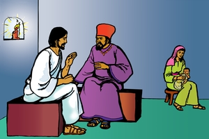Yîîsu A'alima na Nikodemas [Picture 3. Jesus Speaks to Nicodemus]