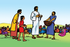Yesu Ikubaswila Abandu Baelifu Bahano (絵 6. Jesus Feeds 5000 People)