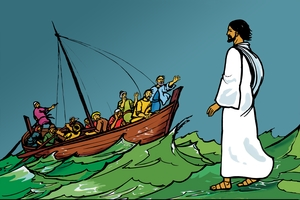 Rùp 7: Yàc Je-su nao pãq dlòc ia tơsìq (Picture 7. Jesus Walks on the Water)