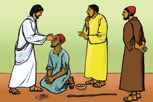 سوع يطيب الاءعمي [Picture 8. Jesus Heals a Blind Man]
