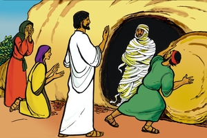 Yesu Inkunkolela Lazalo Ukufuma Mbufwe (絵 9. Jesus Calls Lazarus from Death)
