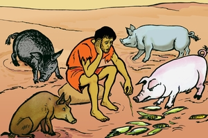 Rùp 14: Anàq lakơi dòq di khrah tơpuôl anàq vui (Picture 14. The Son Among the Pigs)